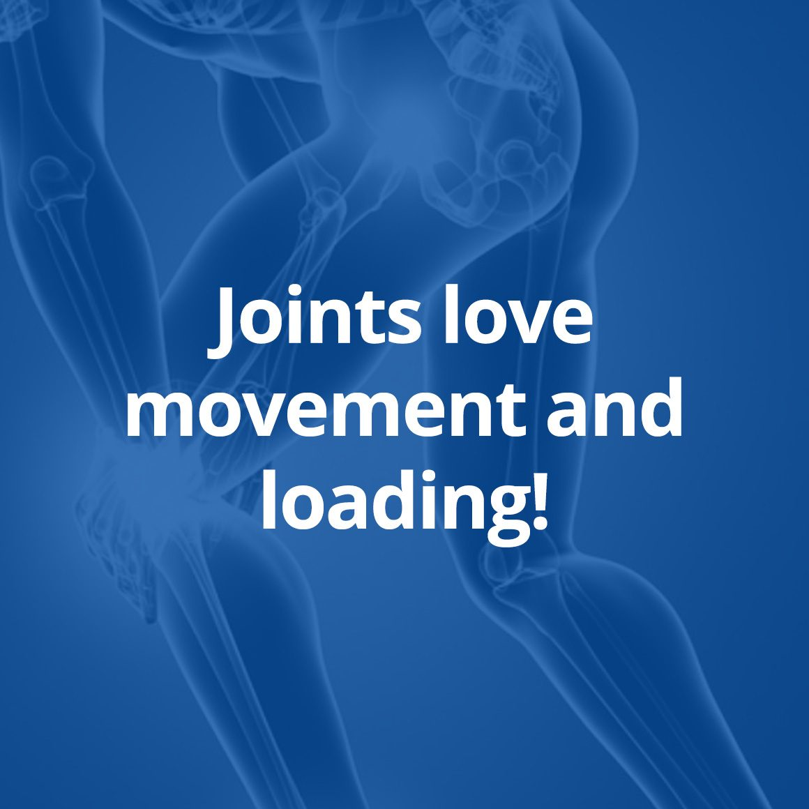 Joints love movement and loading!